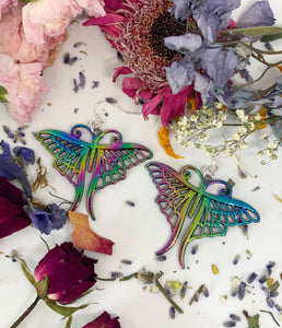 Rainbow moths. Rainbow metal moth charms and sterling silver earrings. - Andria Bieber Designs, Earrings - Jewelry,  Andria Bieber Designs  - Andria Bieber Designs