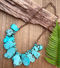 Load image into Gallery viewer, Turquoise howlite slab and beads, chunky lightweight necklace. Copper metal, stone.
