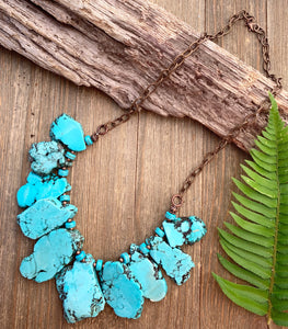 Turquoise howlite slab and beads, chunky lightweight necklace. Copper metal, stone.