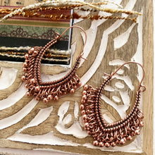 Load image into Gallery viewer, Copper sparkles. Copper metal dangle drop earrings, Boho, jewelry. - Andria Bieber Designs
