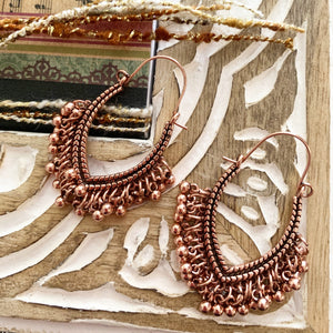 Copper sparkles. Copper metal dangle drop earrings, Boho, jewelry. - Andria Bieber Designs