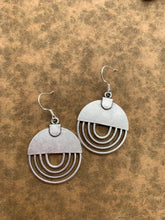 Load image into Gallery viewer, Round modern style sterling silver earrings, jewelry.