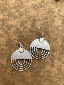 Round modern style sterling silver earrings, jewelry.