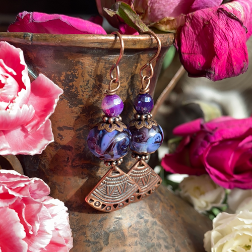 Lampwork glass, copper fan charms, purple stone, earrings