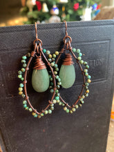 Load image into Gallery viewer, Green turquoise stone, Aventurine teardrop, and copper metal, wire wrapped earrings.