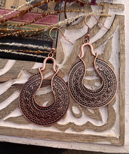 Load image into Gallery viewer, Round, boho, copper metal drop earrings - Andria Bieber Designs, Earrings - Jewelry,  Andria Bieber Designs  - Andria Bieber Designs