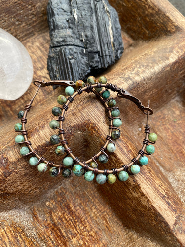 African turquoise stone, copper metal hoops, wire wrapped, earrings
