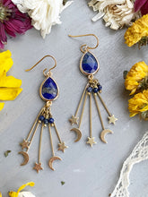 Load image into Gallery viewer, Moon and stars ⭐️ lapis lazuli stone and gold charm earrings, jewelry