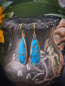 Turquoise blue and gold metal, earrings, jewelry