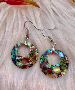 Mother of pearl, shell, abalone, diamond pattern, sterling silver earrings. - Andria Bieber Designs, Earrings - Jewelry,  Andria Bieber Designs  - Andria Bieber Designs