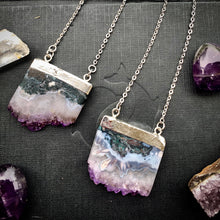 Load image into Gallery viewer, Amethyst gemstone pendant, silver dipped, Druzy amethyst, necklace,  jewelry - Andria Bieber Designs, Necklace - Jewelry,  Andria Bieber Designs  - Andria Bieber Designs