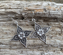 Load image into Gallery viewer, Flower cross charm, silver earrings, jewelry. - Andria Bieber Designs, Earrings - Jewelry,  Andria Bieber Designs  - Andria Bieber Designs