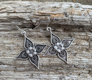 Flower cross charm, silver earrings, jewelry. - Andria Bieber Designs, Earrings - Jewelry,  Andria Bieber Designs  - Andria Bieber Designs