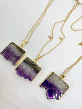 Load image into Gallery viewer, Amethyst druzy slice Necklace, gold dipped, Raw Amethyst, stone, gold chain, February birthstone, jewelry - Andria Bieber Designs, Necklace - Jewelry,  Andria Bieber Designs  - Andria Bieber Designs