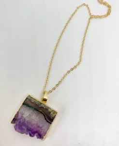 Amethyst druzy slice Necklace, gold dipped, Raw Amethyst, stone, gold chain, February birthstone, jewelry - Andria Bieber Designs, Necklace - Jewelry,  Andria Bieber Designs  - Andria Bieber Designs