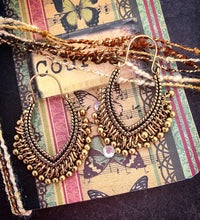 Load image into Gallery viewer, Gold sparkles. Gold metal dangle drop earrings, Boho, jewelry. - Andria Bieber Designs