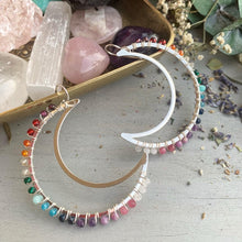 Load image into Gallery viewer, Rainbow gemstone, Moon silver metal hoops, wire wrapped, gemstone, earrings