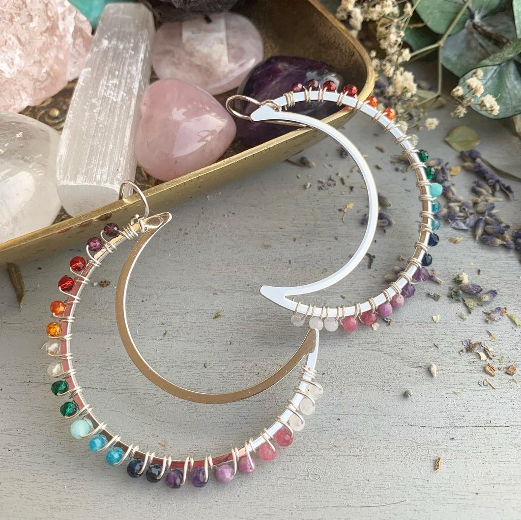 Rainbow gemstone, Moon silver metal hoops, wire wrapped, gemstone, earrings