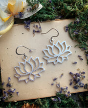 Load image into Gallery viewer, Silver lotus flower charms sterling silver earrings, jewelry.