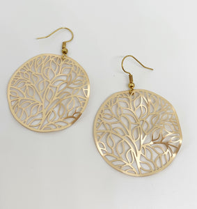 Gold, tree of life hoop earrings - Andria Bieber Designs