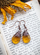 Load image into Gallery viewer, Amber teardrop Czech glass and copper wire wrapped earrings.