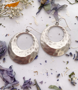 Hammered hoops. Sterling silver earrings, jewelry. - Andria Bieber Designs, Earrings - Jewelry,  Andria Bieber Designs  - Andria Bieber Designs