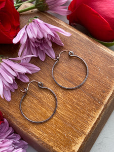 Handmade hammered, copper metal hoops, medium size, earrings