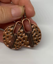 Load image into Gallery viewer, Modern drops, copper metal, hoops, earrings, jewelry. - Andria Bieber Designs, Earrings - Jewelry,  Andria Bieber Designs  - Andria Bieber Designs