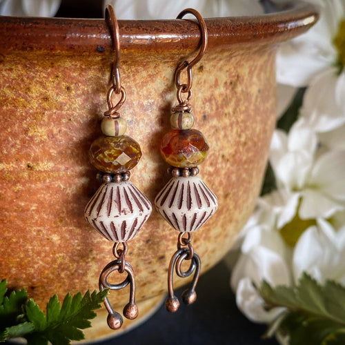 Mod brown. Czech glass, copper metal drop, earrings.