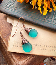 Load image into Gallery viewer, Frosted teal teardrop Czech glass and copper wire wrapped earrings.