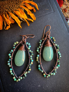 Green turquoise stone, Aventurine teardrop, and copper metal, wire wrapped earrings.