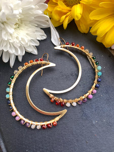 Rainbow gemstone, Moon gold metal hoops, wire wrapped, gemstone, earrings