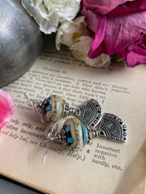 Load image into Gallery viewer, Lampwork glass in blue and cream, silver fan charms, earrings