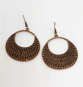 Boho native. Copper metal, hoops, earrings, jewelry. - Andria Bieber Designs, Earrings - Jewelry,  Andria Bieber Designs  - Andria Bieber Designs