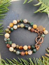 Load image into Gallery viewer, Gemstone, multi strand, copper metal bracelet.