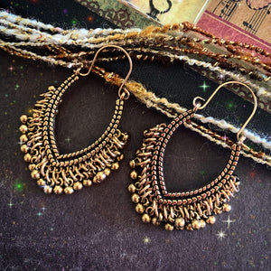 Gold sparkles. Gold metal dangle drop earrings, Boho, jewelry. - Andria Bieber Designs