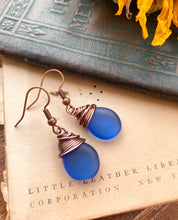 Load image into Gallery viewer, Blue frosted teardrop Czech glass and copper wire wrapped earrings.
