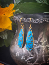 Load image into Gallery viewer, Turquoise blue and gold metal, earrings, jewelry
