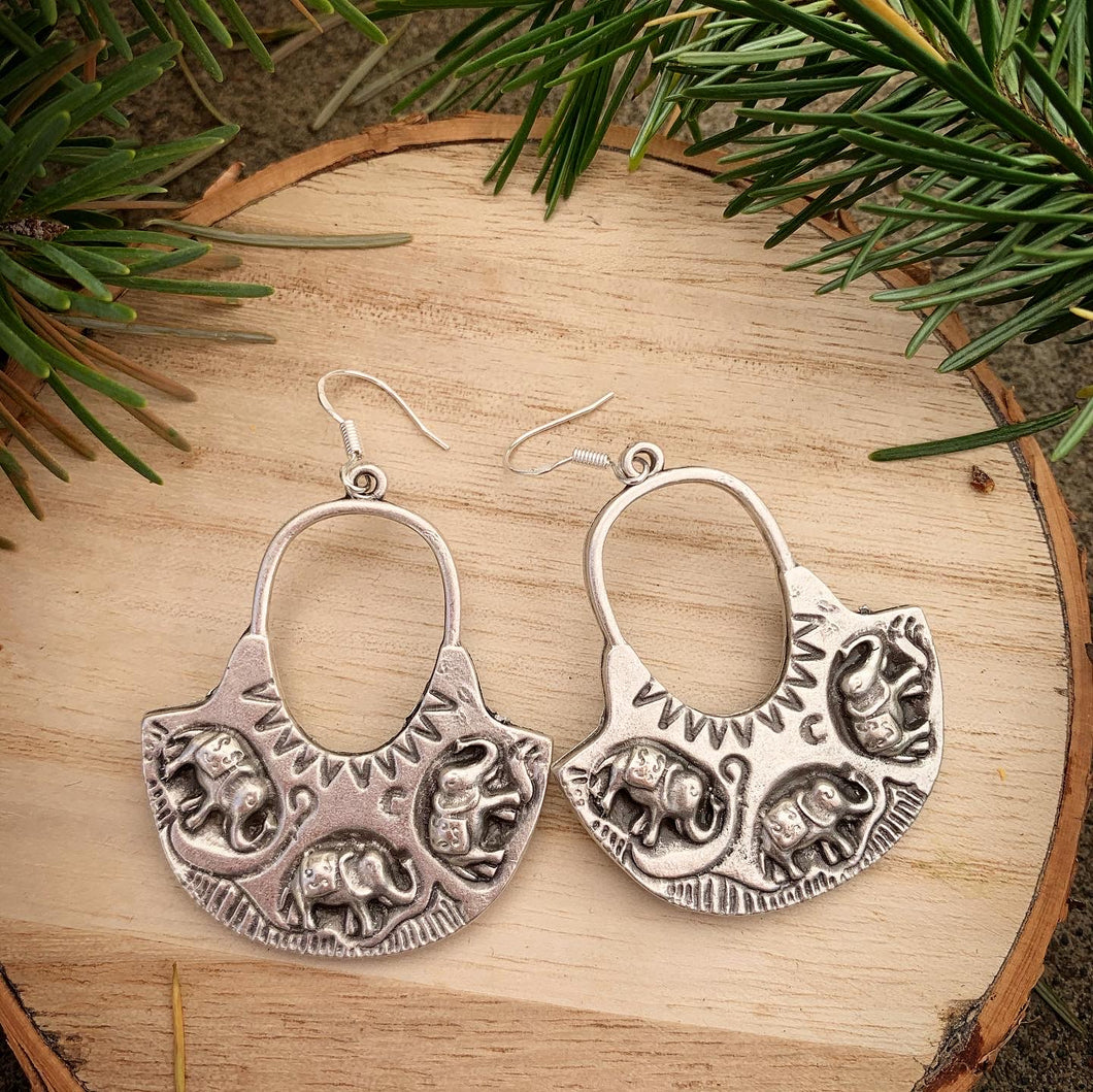 Elephant silver hoops, sterling silver earrings. Handmade jewelry - Andria Bieber Designs, Earrings - Jewelry,  Andria Bieber Designs  - Andria Bieber Designs
