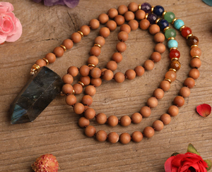 Labradorite Double Point Pendant, hand knotted, 108 bead, wood beads, mala prayer necklace, jewelry