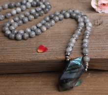 Load image into Gallery viewer, Labradorite Double Point Pendant, hand knotted, 108 bead, Labradorite stone, mala prayer necklace, jewelry