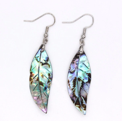 Mother of pearl, abalone, shell leaf and sterling silver earrings. - Andria Bieber Designs, Earrings - Jewelry,  Andria Bieber Designs  - Andria Bieber Designs