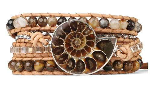 Ammonite fossil, tigers eye, agate, crystals, leather cording, handmade bracelet, wrist wrap, jewelry - Andria Bieber Designs, Bracelet - Jewelry,  Andria Bieber Designs  - Andria Bieber Designs