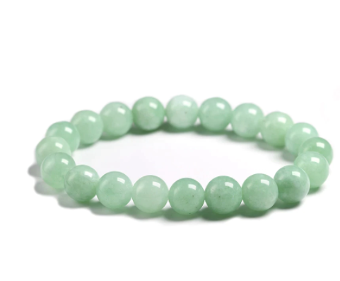 Green Aventurine stone, stretch cording, yoga, bracelet, jewelry.