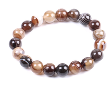 Load image into Gallery viewer, Botswana Agate stone, stretch cording, yoga, bracelet, jewelry.