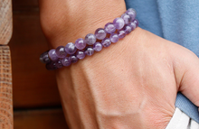 Load image into Gallery viewer, Amethyst purple stone, yoga, healing, stretch cording bracelet, jewelry.