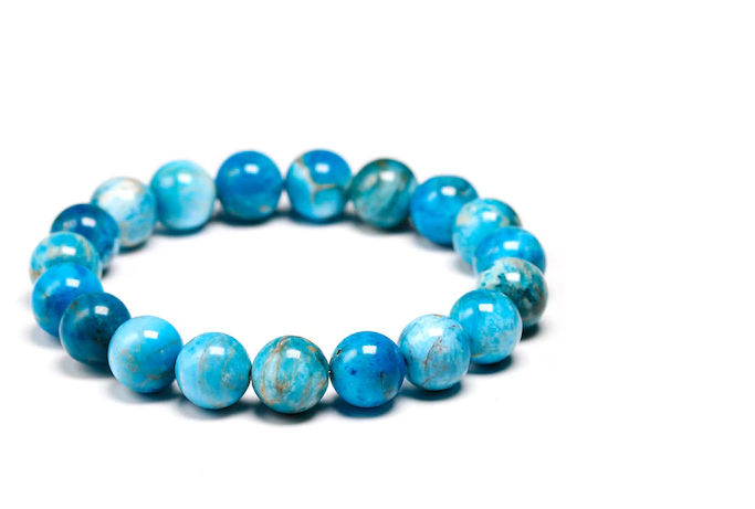 Natural Ocean Blue Apatite stone, stretch cording, yoga, bracelet, jewelry.
