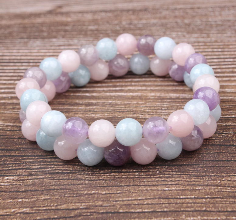 Lavender and amethyst stone, stretch elastic bracelet, jewelry