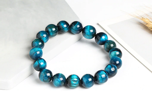 Light blue tiger eye stone, stretch elastic bracelet, jewelry