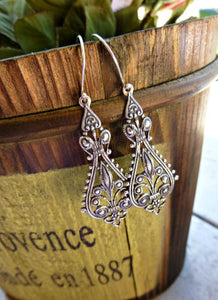 Silver filigree drop earrings. Sterling Silver jewelry. Boho, bridal, victorian, bohemian jewelry. - Andria Bieber Designs, Earrings - Jewelry,  Andria Bieber Designs  - Andria Bieber Designs